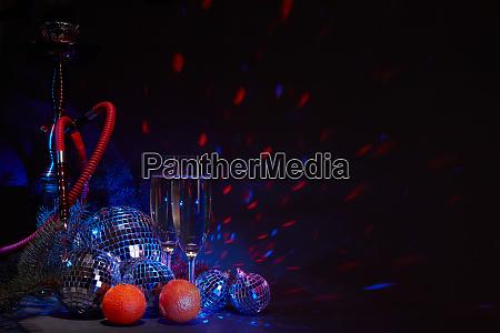 hookah shisha champagne flutes microphone disco