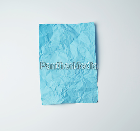 empty crumpled blue rectangular sheet of