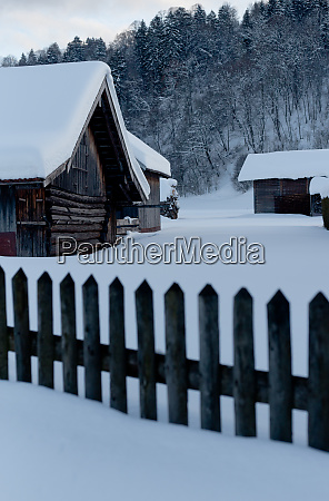 winter landscape snow and cabin in