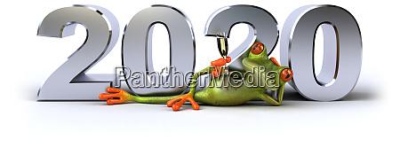 fun 3d green cartoon frog