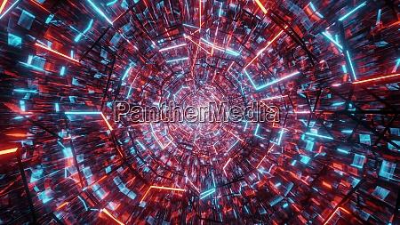 glowing wireframe glass tunnel corridor design