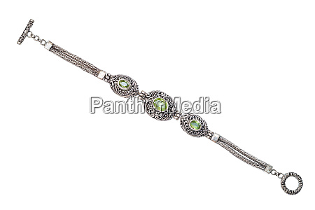 silver bracelet with natural peridot gemstones
