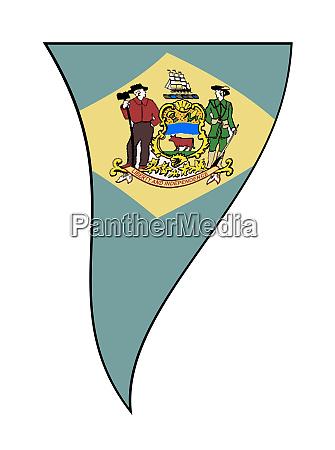 delawarestate flag as fluttering bunting triangle
