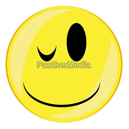 wink smile face button isolated