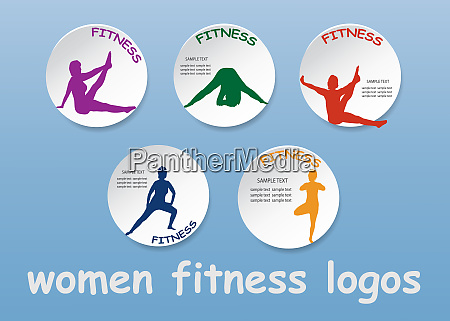 set of colorful logos of fitness