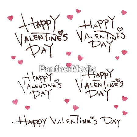 happy valentines day calligraphy and watercolor
