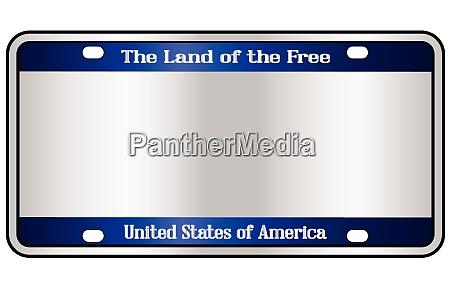 blank patriotic number plate