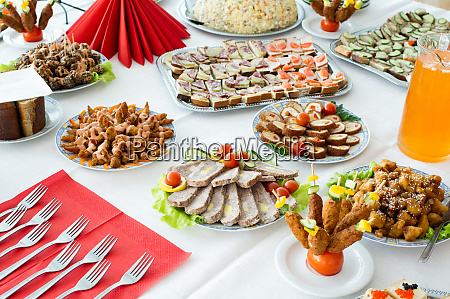 catering food at a party in