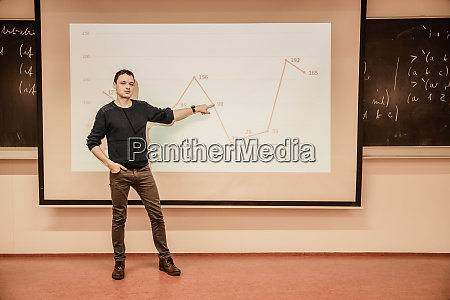 student showing a graph on a