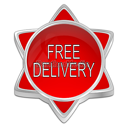 red free delivery button 3d