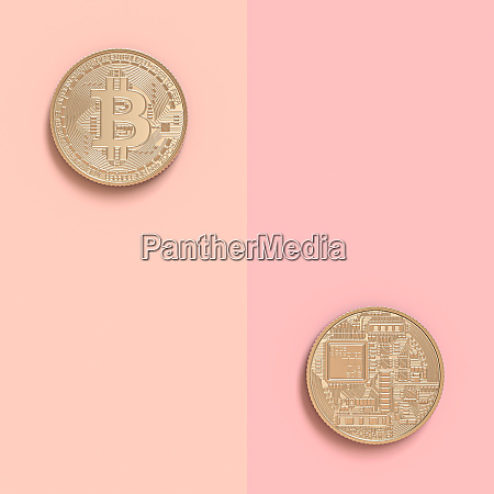 3d image render of two bitcoin
