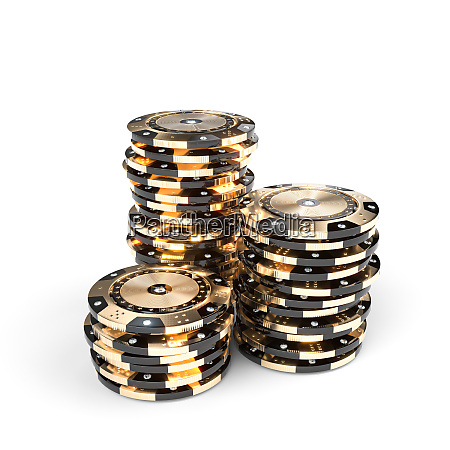 casino luxury chips in gold and