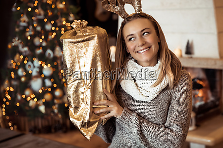 girl receiving christmas gift