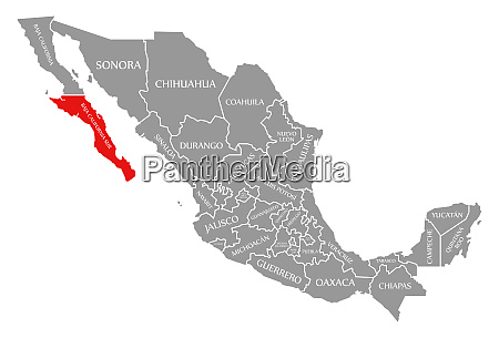 baja california sur red highlighted in