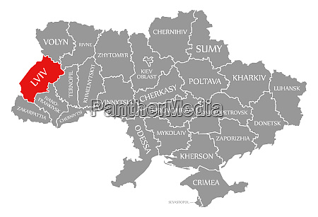 lviv red highlighted in map of