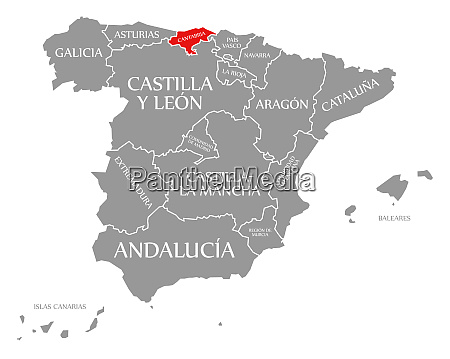 cantabria red highlighted in map of