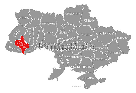ivano frankivsk red highlighted in map