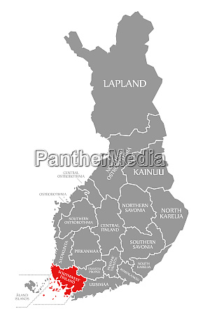 southwest finland red highlighted in map