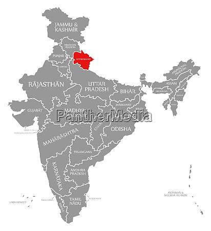 uttarakhand red highlighted in map of
