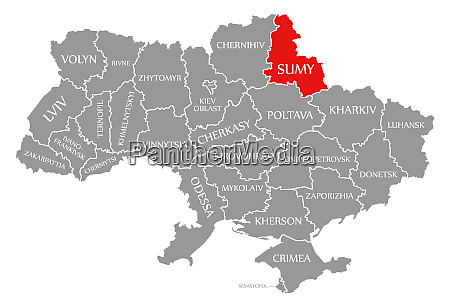 sumy red highlighted in map of