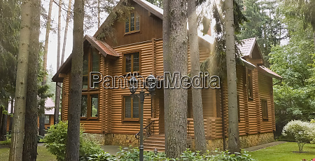 constructed from wooden log house wooden