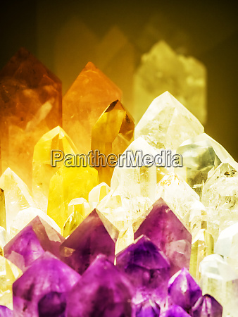 crystal minerals in different colours