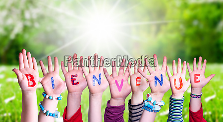 children, hands, building, word, bienvenue, means - 27676268
