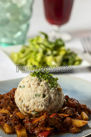 hungarian goulash with bread dumpling