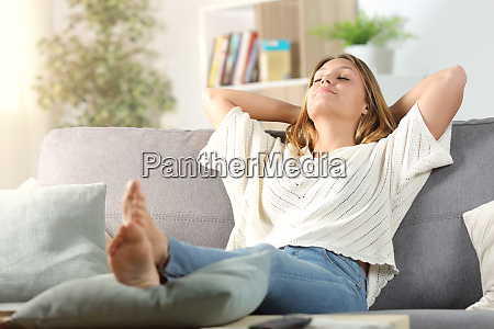 carefree woman relaxing sitting on a