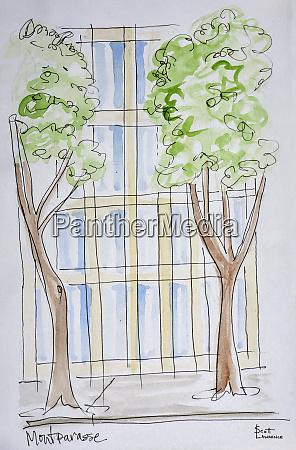 a stylized view of boulevard montparnasse