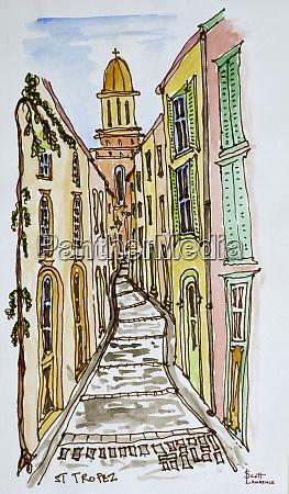 buildings crowd the narrow streets saint
