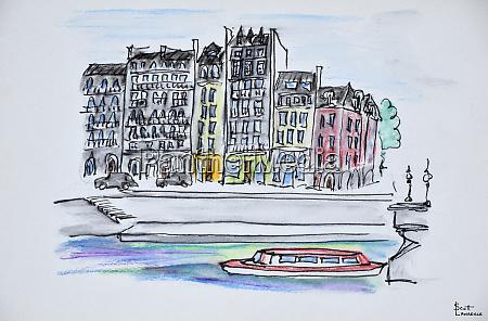 bateaux mouche boat travels along the