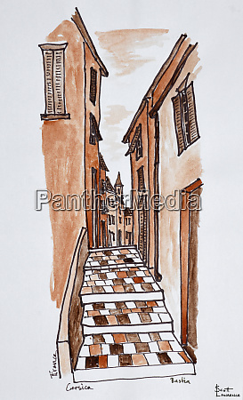 narrow medieval streets of bastia corsica