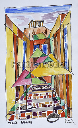 a cubist style watercolor of the