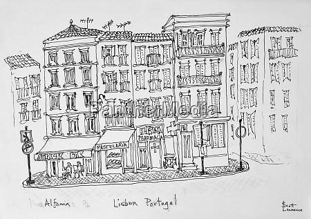 historic district of alfama lisbon portugal