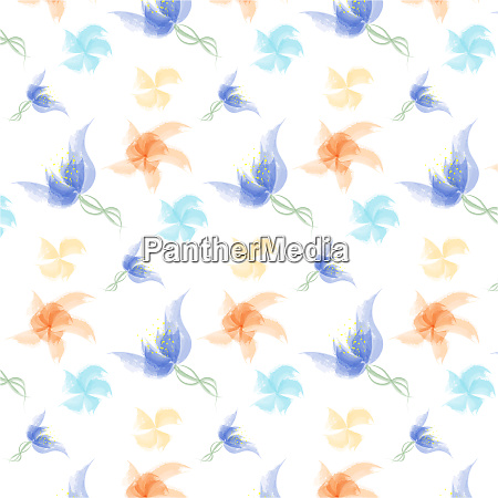 colorful watercolor flowers pattern illustration