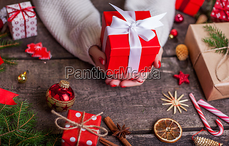 christmas or new year decorated gift