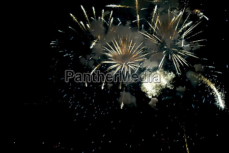 new year fireworks inside view of