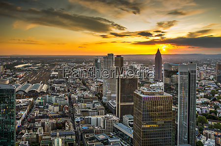 aerial view over the skyscrapers of