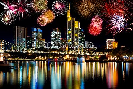fireworks at the frankfurt skyline