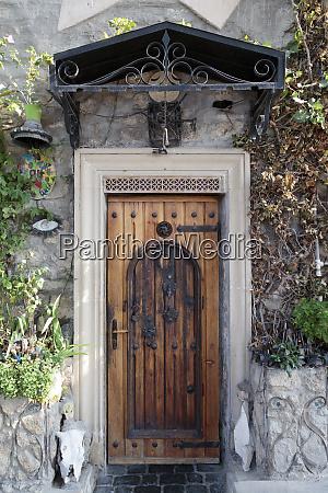 azerbaijan baku a wooden front door