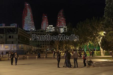 azerbaijan baku people gather around a