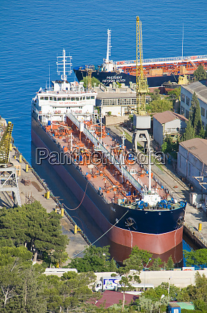 view over a cargo boat in