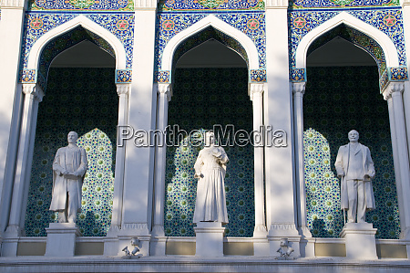 nizami museum with statues of azeri