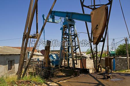 oil derricks on the shore near