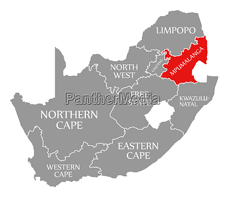 mpumalanga red highlighted in map of