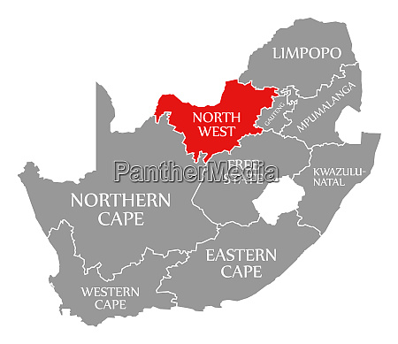 north west red highlighted in map