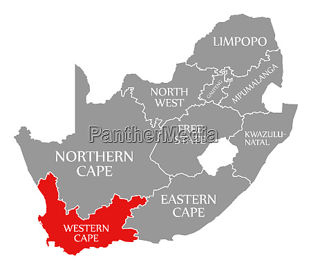 western cape red highlighted in map