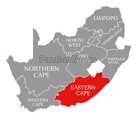 eastern cape red highlighted in map