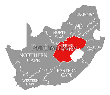free state red highlighted in map
